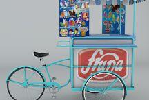 triciclo de helados fruna / diseño 3d del triciclo popular chileno en una marca conocida de dulces