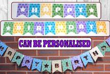 Bunting, garlands for Birthday / Baptism Personalised (or not) Party Flag Bunting / Bunting, garlands for Birthday / Baptism Personalised (or not) Party Flag Bunting. Shopkins bunting, dotted bunting, etc