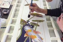 Vissen zijde schilderen