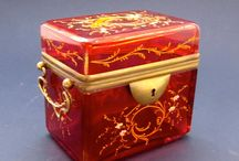 Antique French and Bohemian Glass Caskets