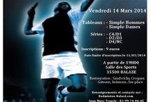 Affiche tournoi Badminton Balazé du 14/03/2014 / Retrouvez l'affiche de notre tournoi simple homme et dame Série C4/D1 D2/D3 et D4/NC du vendredi 14 Mars 2014.