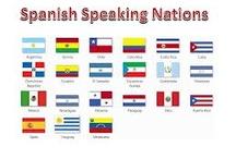 Our friends. Nuestros amigos / En todos estos lugares se puede aprender español. Todos hablamos español por igual ¡Nuestra lengua común!