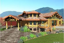 Camden Floor Plan - 4934 Sq. Ft. (458.3 sq m) / A 3D exterior view of our Camden Floor Plan. This beautiful 4934 Sq. Ft. (458.3 sq m) Floor Plan features large architectural shaped windows for a picturesque view and a porte cochere at the main entrance. For more information on Floor Plans, please call: 1-604-705-4321 #loghomedesign #architect #floorplans