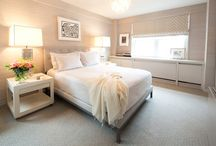 East 84th Highrise / Master Bedroom gut renovation. Clean palette, grasscloth walls, wall to wall carpeting, luxe, modern, elegant