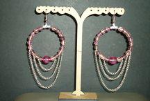 Hoop earrings / Glass bead hoop earrings