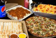 Catering / Celebrate with Monical's Pizza complete with delicious food, plates, napkins, flatware, cups, serving tongs, and squeeze bottles of dressing!