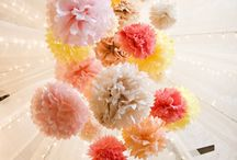 TISSUE POMS / Different ways to decorate with tissue poms and easy tutorials on how to make them found via Rebekah Dempsey at www.ablissfulnest.com.  / by Rebekah Dempsey | A Blissful Nest
