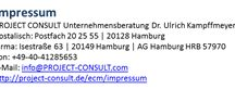 PROJECT CONSULT / Everything from and about my company and its information management consulting business: PROJECT CONSULT Unternehmensberatung Dr. Ulrich Kampffmeyer GmbH | http://www.PROJECT-CONSULT.com/ECM/Impressum