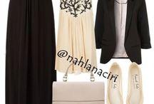 Fashion Hijab: Black & Beige