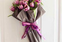 conos de papel flores