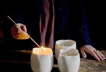 Farolillo / Jarrón #vela en #porcelana. Cera natural de abejas perfumada. Perfume: maderas blancas y hojas de higos. #cerámica #wabisabi