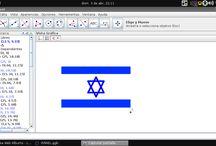 Bandera de Israel en Geogebra / Captura de pantalla del Geogebra 4.0 con la construcción de una bandera de Israel