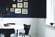 Dinning Room ideas / A ceiling wallpaper in the Dining Room would be super cool...  Paint DARK above the wainscoting and paper the ceiling.  Put your skeletons on the wall.  WEIRD and cool.