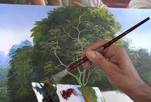 Pintando árvores e folhas