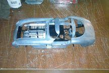 "Model car restoring / Mercedes 300 SLR ""gullwing"" (1955) diecast 1/12 model"