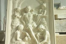 Bas-relief with Apollo and the Nymphs: our recent work / A stone bas-relief depicting the group of Apollo and the Nymphs of Thetis from the grotto of Thetis at Versailles (a study of the sketch in clay, running in Vicenza stone on a panel 3 meters high)