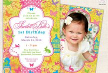 Cute Girl Invitations / Cute & unique customized designs from Ian & Lola starting at $16.00 http://www.ianandlola.com / by Ian & Lola Invitations and Printables