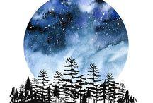 Himmel och moln och stjärnor
