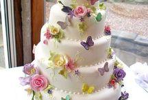 tortas mariposas y flores