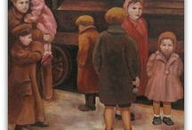 "Auschwitz Album Revisited / Pat Mercer Hutchens, teacher and accomplished practicing artist, has completed a series of thirty plus paintings to remember and honor those who perished in the Holocaust. All the paintings were motivated by the Auschwitz Album, the only surviving photographic evidence of Jews arriving and being ""processed"" at a Nazi death camp.  The Jerusalem Connection is offering archival prints (giclees) of these original paintings.  Find out more on our website. / by Jerusalem Connection"