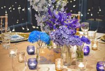 Blue + Champagne Wedding / Surrounded by a wall of cascading fairy lights, elegant Champagne satin tablecloths adorned each table, beautifully framed by romantic limewash Tiffany Chairs. Each guest placement was decorated with gold vintage charger plates, peacock patterned napkins, custom placecards and table numbers. The centrepieces were a mix of gold and blue tealight votives and soft blue, purple and white hued florals.Youtube:https://www.youtube.com/watch?v=kfoL9dFUGsc&feature=youtu.be