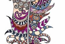 india & zentangle drawings