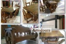 Muebles rústicos artesanos / Mesas, sillas, bancas antiguas, de madera de castaño natural con acabados a la cera;  http://www.artedoor.es/?p=1223