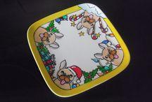 Hand painted  Bulldog Chistmas plates / Funny hand painted plates with bulldog