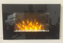 Black Glass TruFlame Wall Mounted Electric Fires (90cm wide)