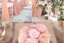 Peach, gold, pink