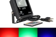 Remote Control RGB LED Flood Lights / LTE  Remote Control RGB LED Flood Lights, Color Changing LED Security Light, 16 Colors & 4 Modes, IP66 Waterproof LED Floodlight, US 3-Plug, Wall Washer Light