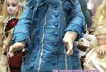 Dress blue-ecru, antique dolls