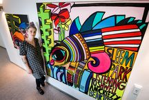 """""""The fat and the grass of the land"""" / Berlin-born artist Mimi von Minz with one of her bigger canvasses """"the fat and the grass of the land"""", exhibition munich, 2015."""