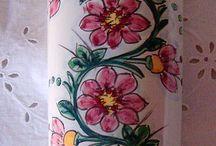 Umidificatore per termosifone o stufa in maiolica dipinto a mano.Decoro Floris