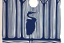 Art: Linocut and woodcut prints
