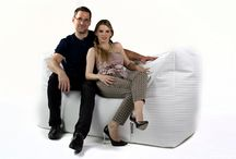 White Kingdom / White bean bag chairs and home decor.