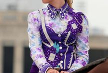 Decked out like a Vegas show girl! / Western horsemanship/showmanship/rail attire ideas / by Janis Lapsley