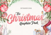 The Christmas Graphics Pack / Check out this incredible new Christmas bundle, carefully selected by TheHungryJPEG team especially for you. An incredible 38 packs of fun, festive graphics for you to create your holiday designs with.