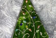 rboles de navidad en vitral