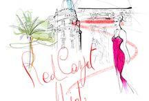 55 Croisette / Waterclor illustration for a t-shirt, Festival de Cannes, client 55 Croisette