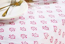 Pink Table Linens /  Hand Bloack Printed Indian Table Cloth - Pink Table Linens / by Attiser