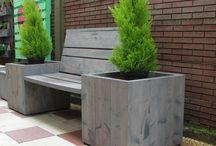 Tuin en terrasmeubelen / tuin en terrasmeubelen van steigerhout