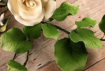 Gumpaste Leaves / These readymade by hand gumpaste leaves will help give your cakes a more realistic garden feel.  Each leaf filler is bound by bendable wires that make for easy positioning and application on cakes.  Compliment a wide range of gumpaste flowers to create a beautiful bouquet for your creation. CaljavaOnline.com  / by CaljavaOnline.com