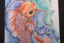 Koi fish  / Koi fish with markers and pencils