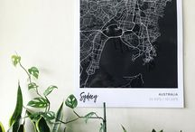 Map prints in the 'Black' style / Coloured city map prints of your favorite places. Maps in 'Black' style from Mapiful.