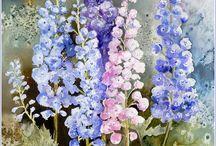 fleurs a l' aquarelle