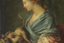 Живопись.Женщина с кошкой, птичкой и ...