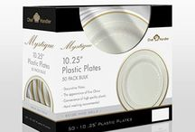 Plastic Plates / These heavyweight plastic plates are charming in style and combine the convenience of plastic with an elegant appeal of China. These plates are recyclable, making it easy, environmentally friendly cleanup.
