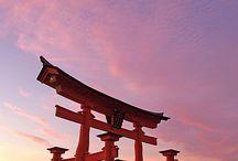 nippon / japon samourai paysage temple figurine