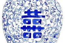 blue  and white china .